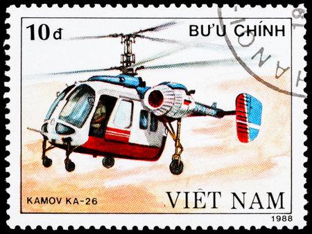 VIETNAM - CIRCA 1988: a stamp printed in Vietnam shows Kamov KA-26 helicopter, circa 1988