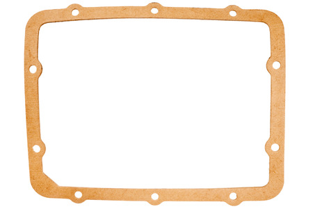 gasket: Old oval paper gasket isolated on white background