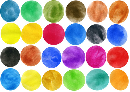 Watercolor circle shape design elements isolated on white background photo
