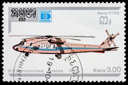 KAMPUCHEA - CIRCA 1987: A stamp printed in Kampuchea shows helicopter  Boeing Uttas, circa 1987