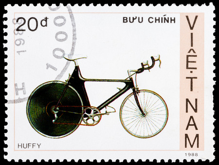 huffy: VIETNAM - CIRCA 1988: A stamp printed by Vietnam shows bicycle Huffy, circa 1988