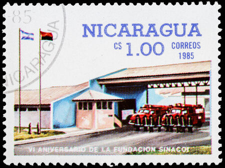 NICARAGUA - CIRCA 1985: a stamp printed in Nicaragua shows firefighter station,series, circa 1985