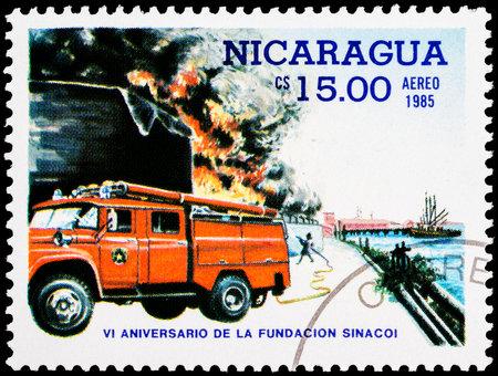 NICARAGUA - CIRCA 1985: a stamp printed in Nicaragua shows fire truck,series, circa 1985