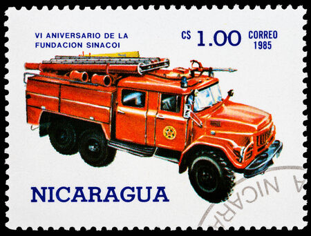 NICARAGUA - CIRCA 1985: a stamp printed in Nicaragua shows red fire truck,series, circa 1985