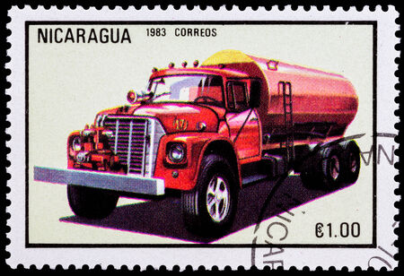 NICARAGUA - CIRCA 1983: a stamp printed in Nicaragua shows red fire truck,series, circa 1983