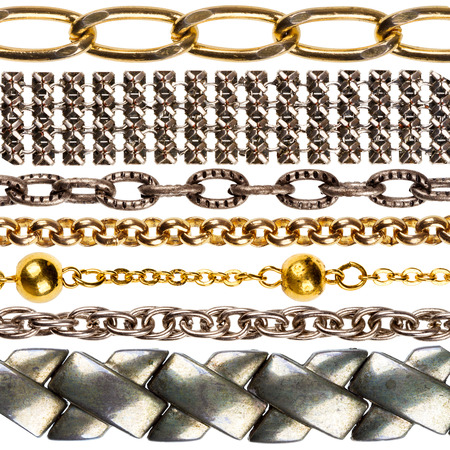 Set of various jewelry chains isolated on white background, each one shot separately photo