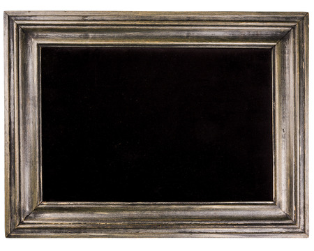 Rectangular wooden frame with black fabric inside isolated on white background