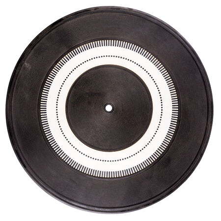 Vintage rubber turntable platter mat with strobe pattern in the center isolated on white photo