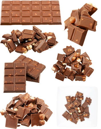 Milk chocolate with nuts collection isolated on white background photo
