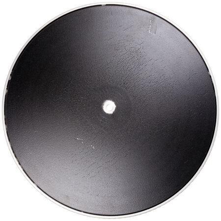 hi fi: Vintage turntable platter isolated on white background Stock Photo