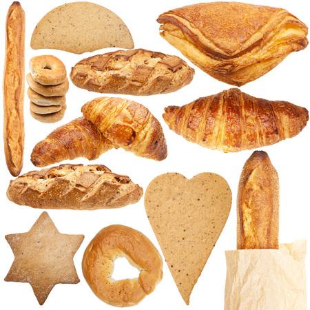 pan frances: Colecci�n de varios panader�a fresca aislados en fondo blanco
