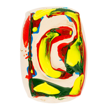 educaton: Handmade of white clay letter C painted with colorful acrylic paints isolated on white Stock Photo