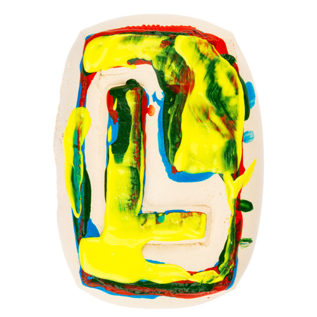 educaton: Handmade of white clay letter L painted with colorful acrylic paints isolated on white