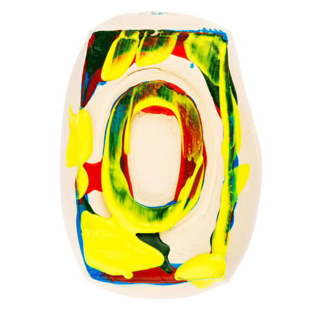 educaton: Handmade of white clay letter O painted with colorful acrylic paints isolated on white Stock Photo