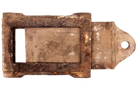Rusty vintage stove damper isolated on white background photo