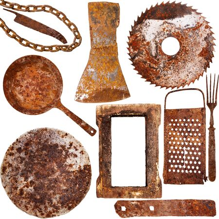 metal grater: Collection of vintage rusty iron items isolated on white background