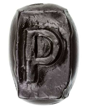 decorative letter: Handmade ceramic letter P painted in black isolated on white