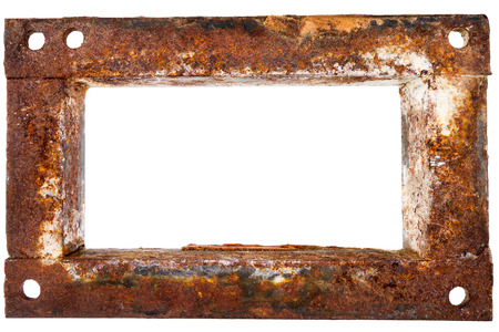 Old rusty metal frame isolated on white background photo
