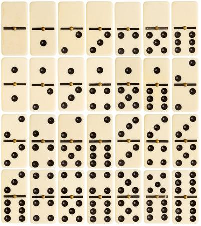 Big size full set of domino tiles isolated on white background photo