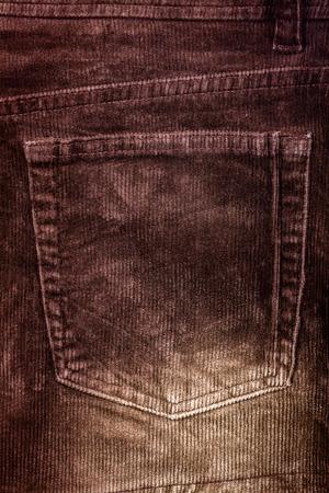corded: Corduroy background with back pocket Stock Photo