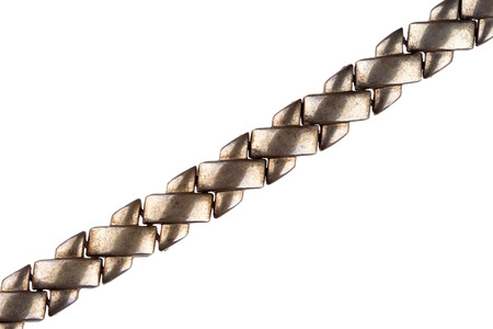 silver plated: Old massive silver plated chain detail isolated on white