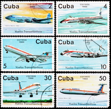 rom: CUBA - CIRCA 1988: Stamps printed in CUBA shows images of the airplanes in transatlantic flights rom Havana, circa 1988 Editorial