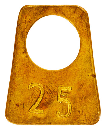 cloakroom: Ancient brass cloakroom label with number 25 isolated on white