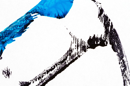 tempera: Abstract hand painted black and blue acrylic arts background Stock Photo