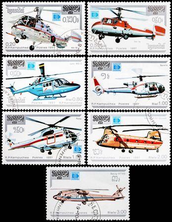 kampuchea: KAMPUCHEA - CIRCA 1987: Stamps printed in Kampuchea shows various helicopters, circa 1987