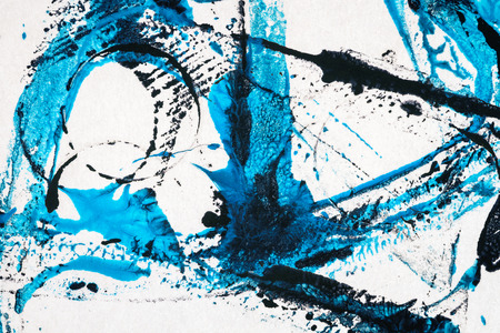 Abstract hand painted black and blue acrylic arts background Imagens