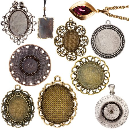 pendants: Collection of vintage pendants isolated on white background