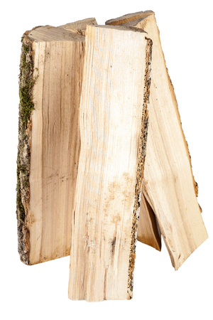Bundle of firewood isolated on white background