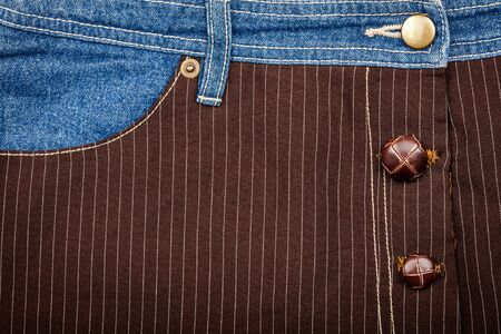 fabric textures: Jeans and lined brown fabric textures with jeans pocket