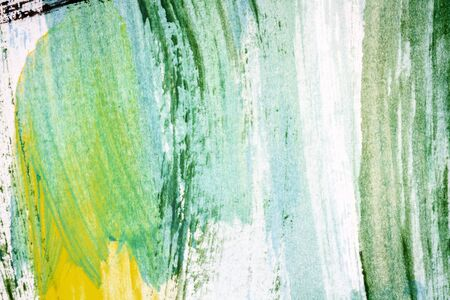 tempera: Abstract hand painted yellow green and black colors art background Stock Photo