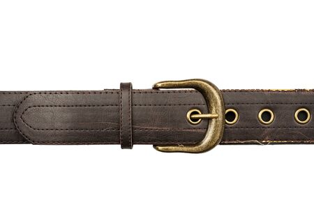 leather background: Brown leather belt isolated on white