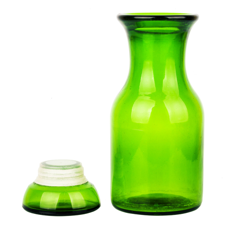 stopper: Green glass chemical bottle with the ground stopper isolated on white background