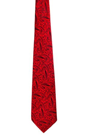 neck tie: Vintage red tie isolated on white background Stock Photo