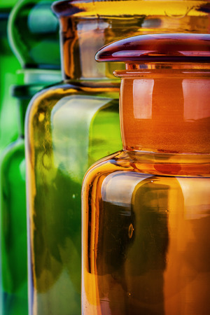 color photo: Color photo of a glass bottles Stock Photo