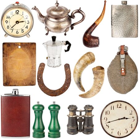 horse pipes: Big size collection of various vintage items including clocks, teapots, flasks isolated on white background