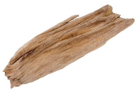 Flat piece of driftwood isolated on white background