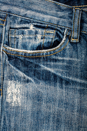 Blue jeans fabric with pocket background Imagens