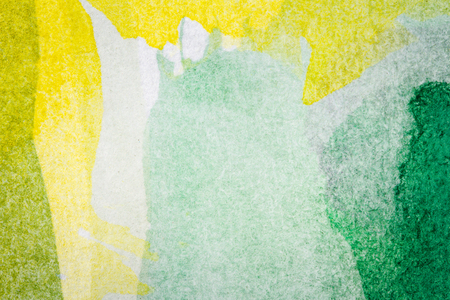 macro texture: Abstract hand painted green and yellow watercolor arts background Stock Photo