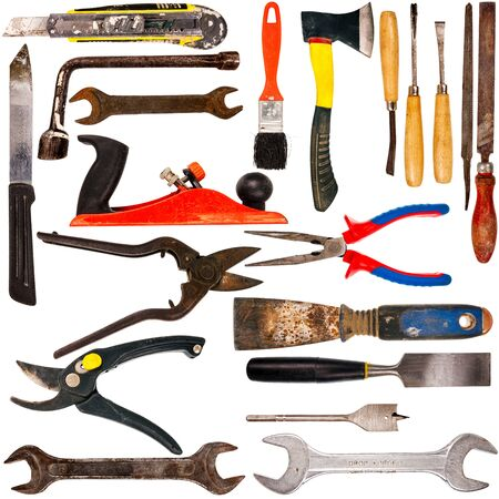 boxcutter: Big size collection of various used tools isolated on white background