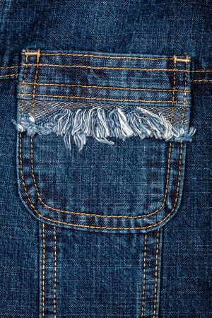 fringes: Blue jeans fabric with pocket background Stock Photo