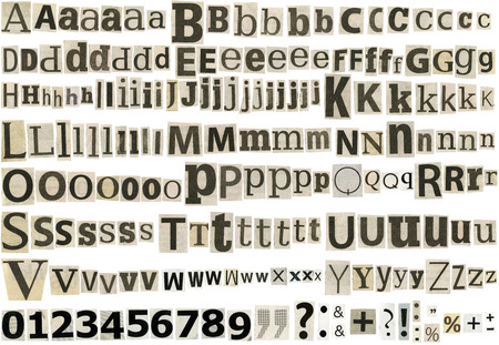 Big size collection of black and white newspapers letters, numbers and symbols clippings isolated on a white background