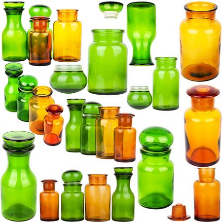 veneno frasco: Colecci�n de tarros de cristal de la vendimia aislado en el fondo blanco