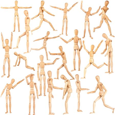 dummies: Set of wooden dummies isolated on a white background