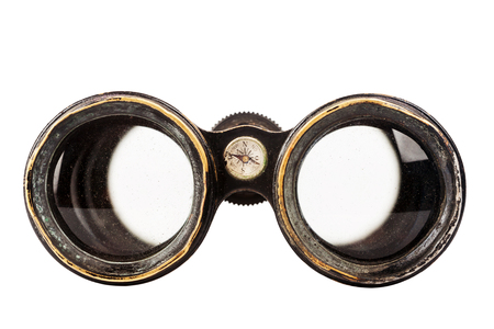antique binoculars: Vintage binoculars with compass isolated on white background
