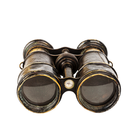 Vintage binoculars with compass isolated on white background Imagens