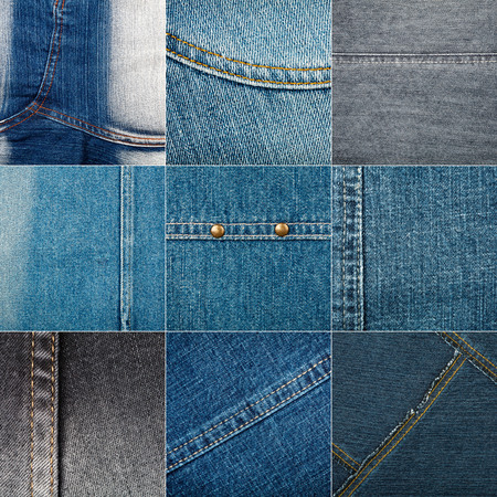 stitches: Collection of various jeans textures with stitches